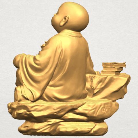 TDA0558 Little Monk Drink Tea A05.png Télécharger fichier STL gratuit Boire du thé Little Monk Drink Tea • Design à imprimer en 3D, GeorgesNikkei