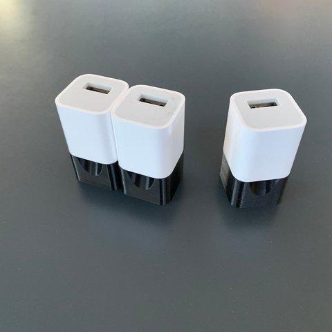 Free 3D printer designs US iPhone Charger Plug, Greystone