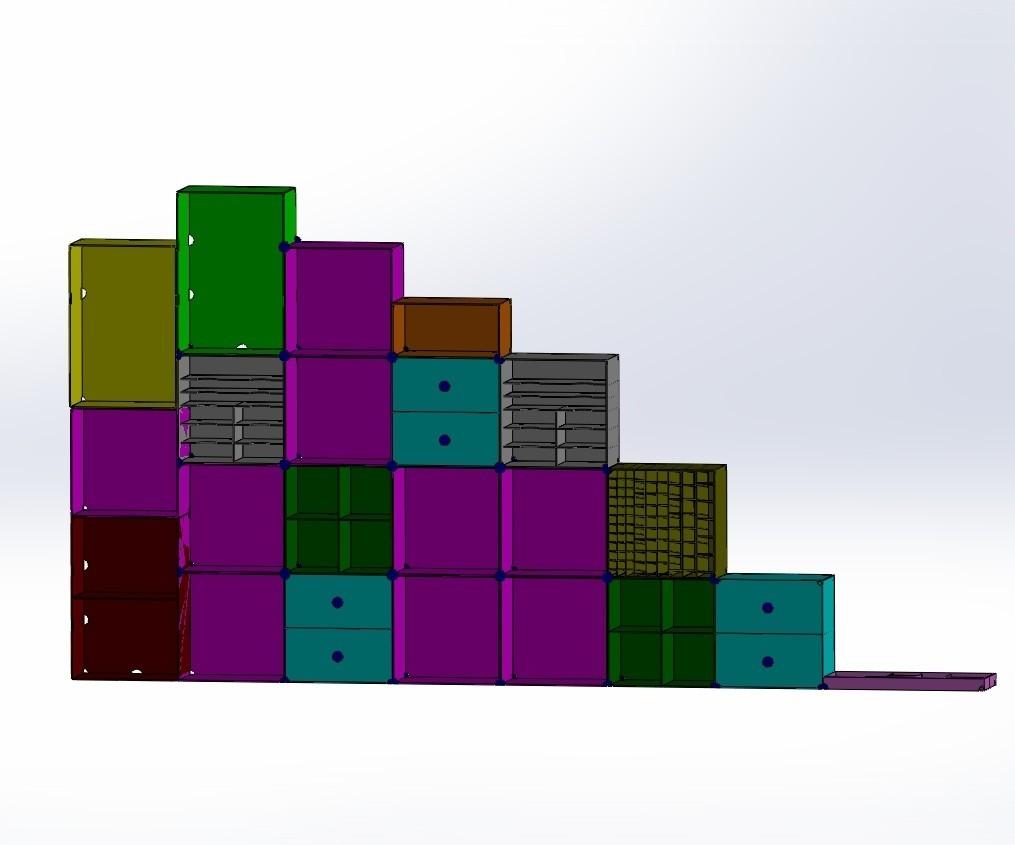 Regal-stl.jpg Download free STL file Box number 4, plug-in rack, set of boxes, ordering system • 3D print model, AH727