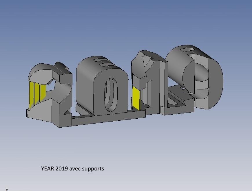 year 2019 avec supports.jpg Télécharger fichier STL gratuit YEAR 2019 • Objet pour imprimante 3D, NOP21