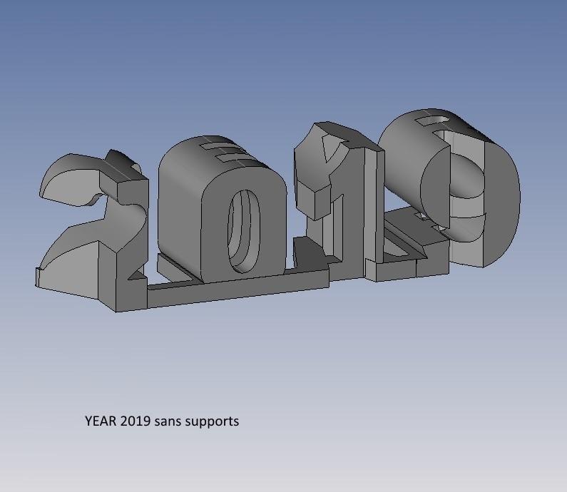 year 2019 sans supports.jpg Télécharger fichier STL gratuit YEAR 2019 • Objet pour imprimante 3D, NOP21