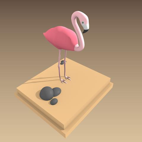Modèle 3D Flamant Rose, 3Dvision