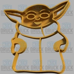 Download 3D printer files Yoda Baby Mandalorian Cookie Cutter, 3DDruck