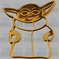 Descargar modelos 3D para imprimir Yoda Baby Mandalorian Cookie Cutter, 3DDruck