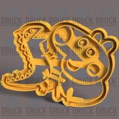 peppa y lagarto.jpg Télécharger fichier STL Coupeuse de biscuits au poivre et au lézard • Plan à imprimer en 3D, 3DDruck