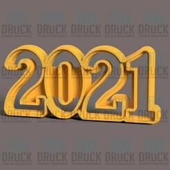 2021.jpg Download STL file NEW YEAR 2021 - NEW YEAR 2021 Cookie Cutter • 3D printer design, 3DDruck
