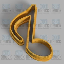 Download 3D printing models Musical Note - Musical Note Cookie Cutter, 3DDruck