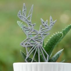 Free 3D printer files Cerf Deco Geometry or Keychain, Kana3D