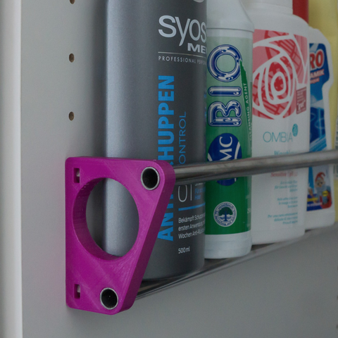 Free STL Bottle storage attached to shelf holes Ø<65mm, ewap