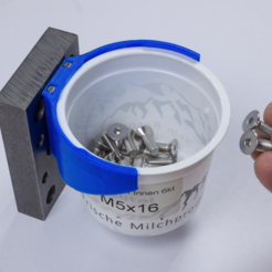 Download free 3D printing designs Bracket for Recycled Yogurt Cup to build a Screw Storage, ewap