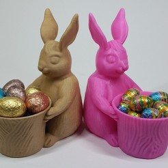 Free STL files Easter Bunny Toy/Pot/Planter, 3DWithUs