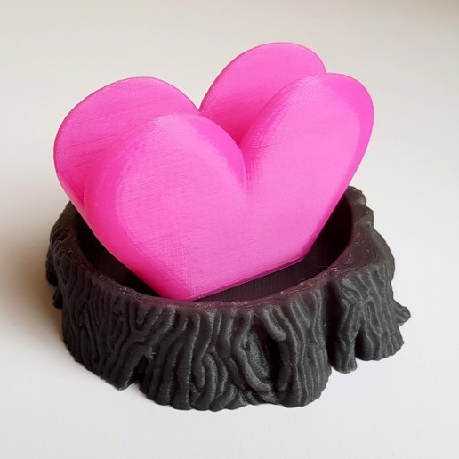 Bonus Objects - Tree Stump and Heart-Shaped Napkin Holder.jpg Download STL file Valentine Turkey Bird 3D Model - Animated Coaster Planter Holder • 3D printable design, MaxFunkner