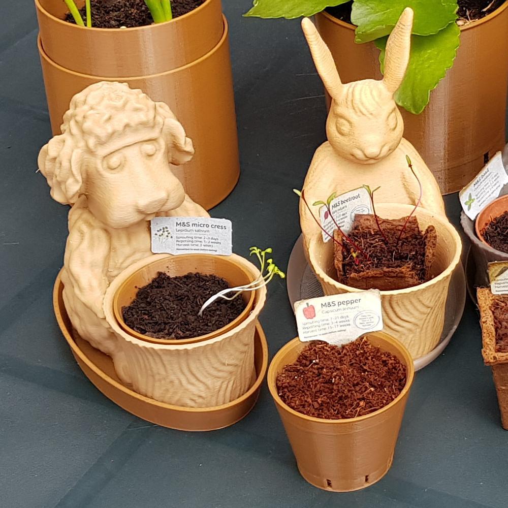 Dog The Gardener and Bunny 1000.jpg Download free STL file Easter Bunny Toy/Pot/Planter • 3D printable model, MaxFunkner