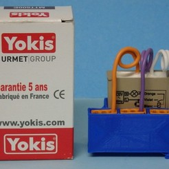Free 3D print files DIN support for built-in YOKIS module / Support DIN pour module YOKIS encastrable, Boxplyer