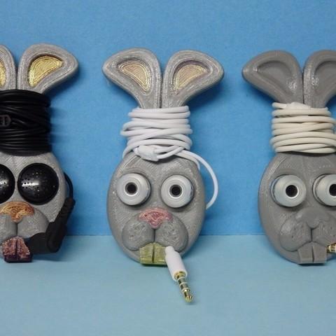 Download free 3D printing templates earbud holder - rabbit head / support oreillette tête de lapin, Boxplyer