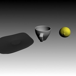 3d model Cup Plate Set and lemon, 3dmaxhouse