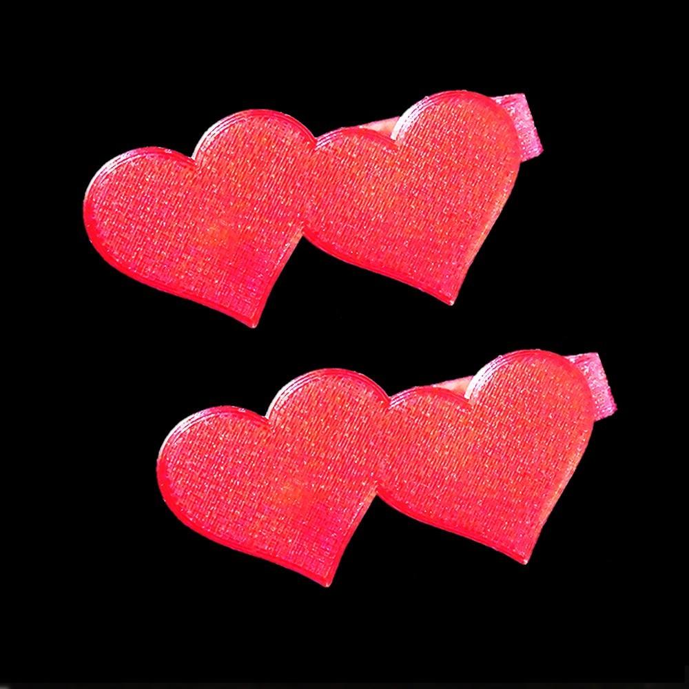 heart CLIP.jpg Download free STL file Two Hearts Hair Clip • 3D print design, delukart