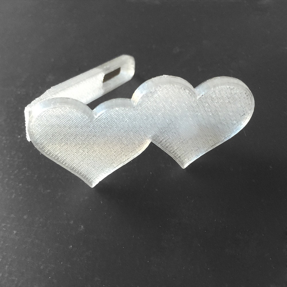 heart CLIP clear-2.jpg Download free STL file Two Hearts Hair Clip • 3D print design, delukart
