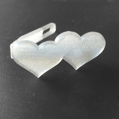 Download free 3D printing designs Two Hearts Hair Clip, delukart