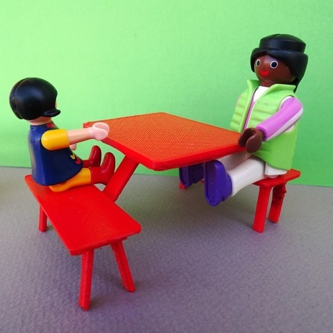 DSC06585.JPG Download free STL file Playmobil Bench and Camping Table • 3D printable model, LaWouattebete