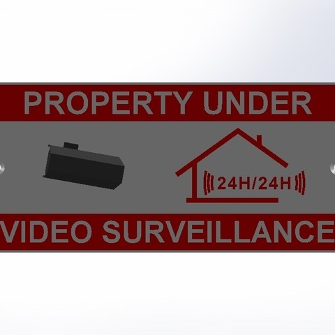 Video Surveillance Sign.JPG Download free STL file Video Surveillance Panel • Model to 3D print, LaWouattebete