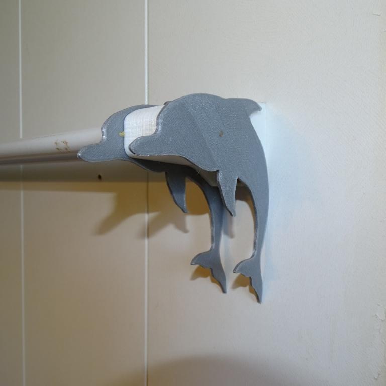 DSC07933.JPG Download free STL file Dolphin towel holder • 3D print object, LaWouattebete
