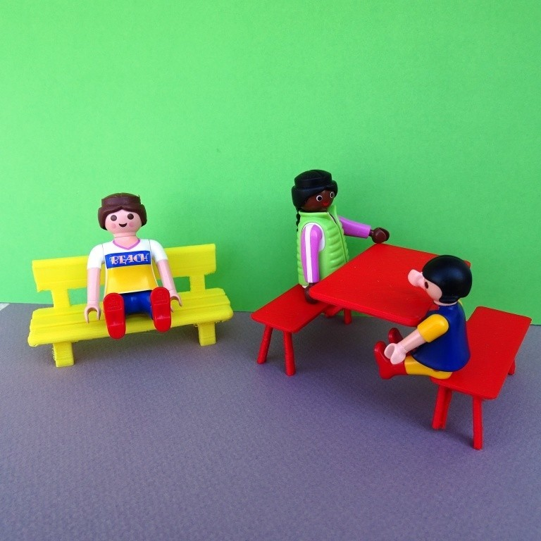 DSC06583.JPG Download free STL file Playmobil Bench and Camping Table • 3D printable model, LaWouattebete