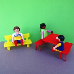 Free stl files Playmobil Bench and Camping Table, LaWouattebete