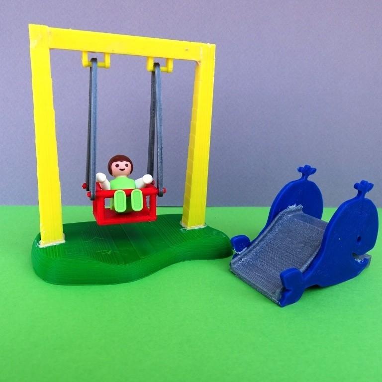DSC06577.JPG Télécharger fichier STL gratuit Balançoire et Toboggan Playmobil • Plan imprimable en 3D, LaWouattebete