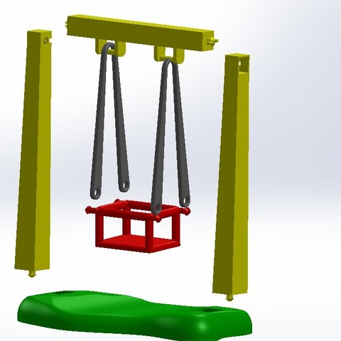 Assemblage.JPG Download free STL file Playmobil Swing and Slide • 3D printing object, LaWouattebete