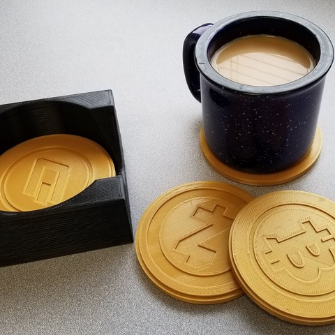 "Download free 3D model Crypto Coasters and Caddy (""Bitcoin"" Coasters) , RooskieJohn"