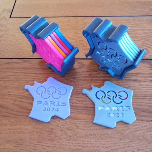 Download 3D printer templates COASTER DESIGN OLYMPIC PARIS 2024, PLP
