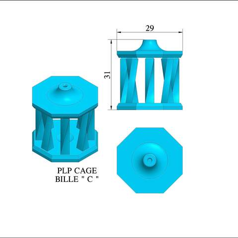 "plp-cage-bille-c-a-b.jpg Download free STL file PLP BALL CAGE ""C"" • 3D printing model, PLP"