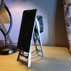 IMG_6540.JPG Download STL file MOBILE PHONE HOLDER AND WATCH ON STEPLADDER • 3D printable model, PLP
