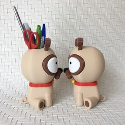 IMG_6378.JPG Download STL file PENCIL CUP PUG • 3D print object, PLP