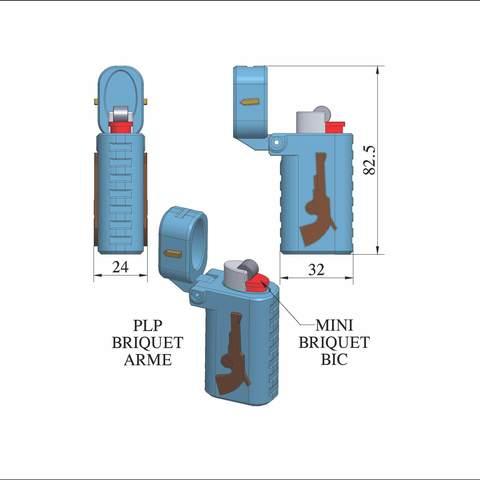 plp-briquet-assemblage-arme.jpg Download free STL file PLP LIGHTERS HOLDER • 3D printer object, PLP