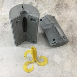 Triple Tail Grub-099.jpg Download STL file Triple Tail Grub Soft Plastic Injection Mold • Design to 3D print, sthone