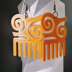 Download free 3D printer designs Earring / pendant / keychain Comb Afro Adinkra, SamiJoe