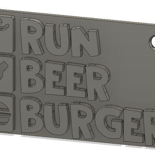 Download free 3D print files Run Beer Burger keychain, xavden