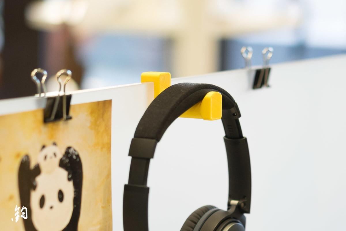 Instagram Gadgets 1.jpg Download STL file Headphone holder for office desk divider • Object to 3D print, ShawnShi