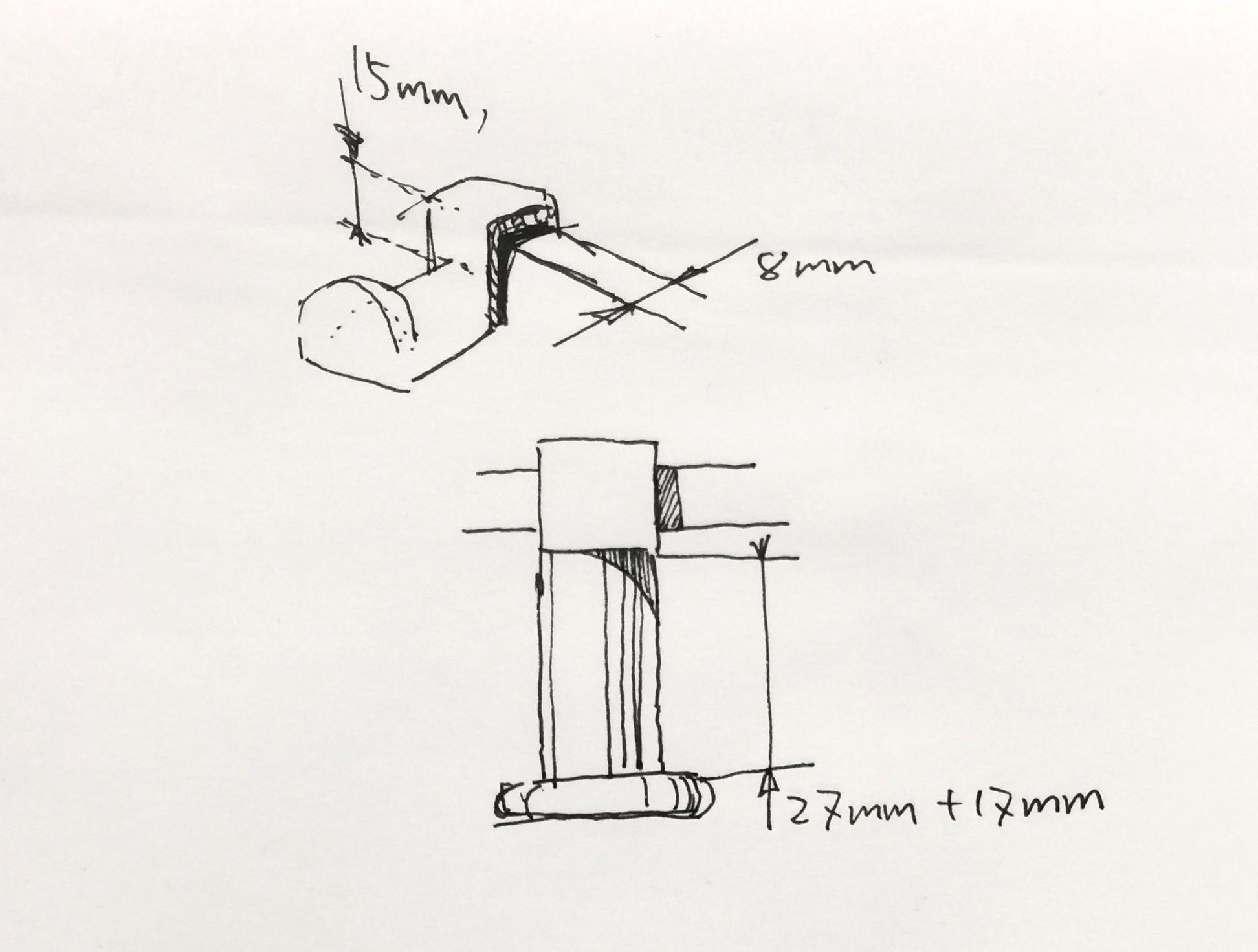 Headphone hanger sketch.jpg Download STL file Headphone holder for office desk divider • Object to 3D print, ShawnShi