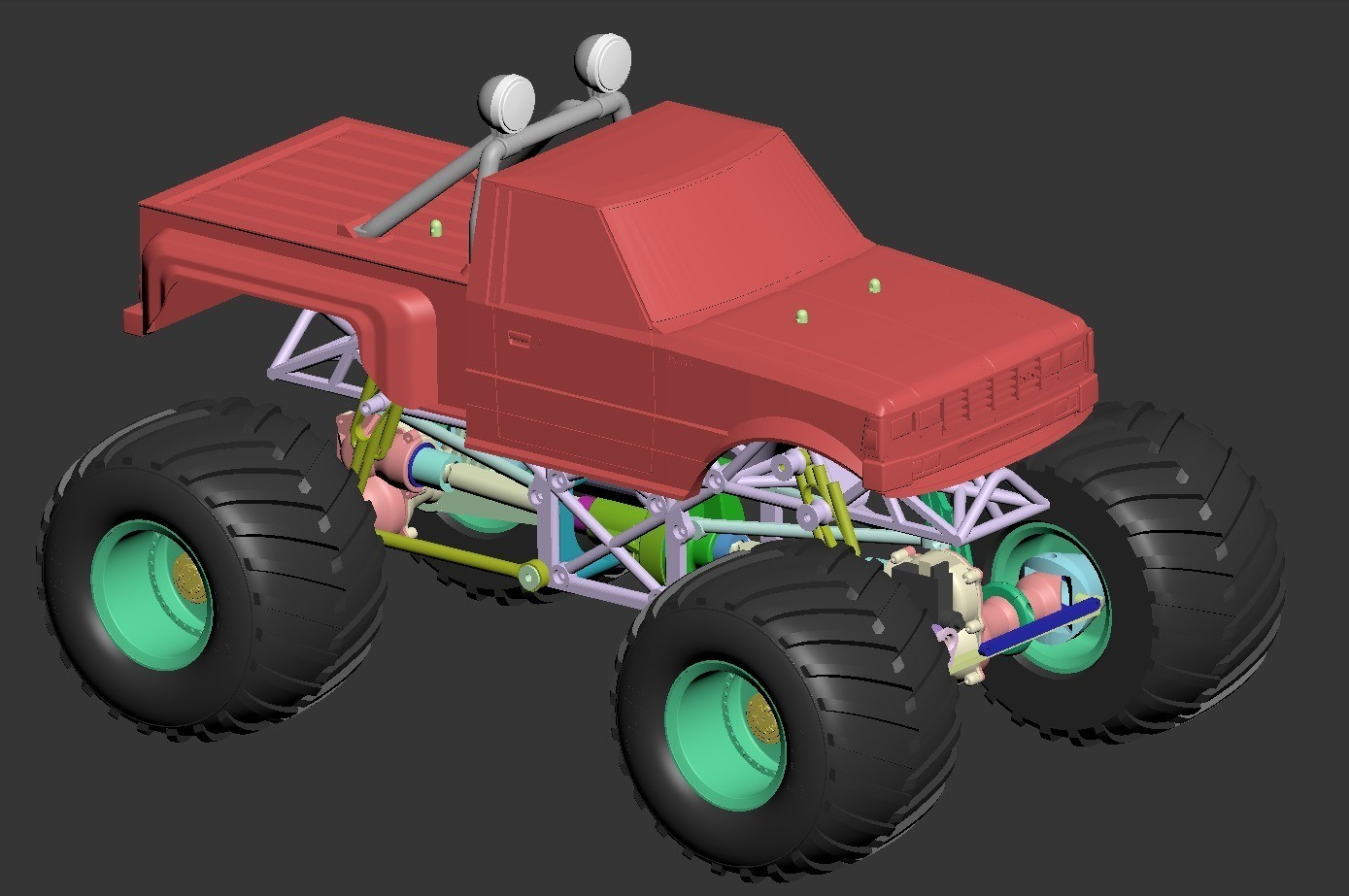 monster07.jpg Download free STL file Fully printable Monster Truck • 3D printer design, tahustvedt