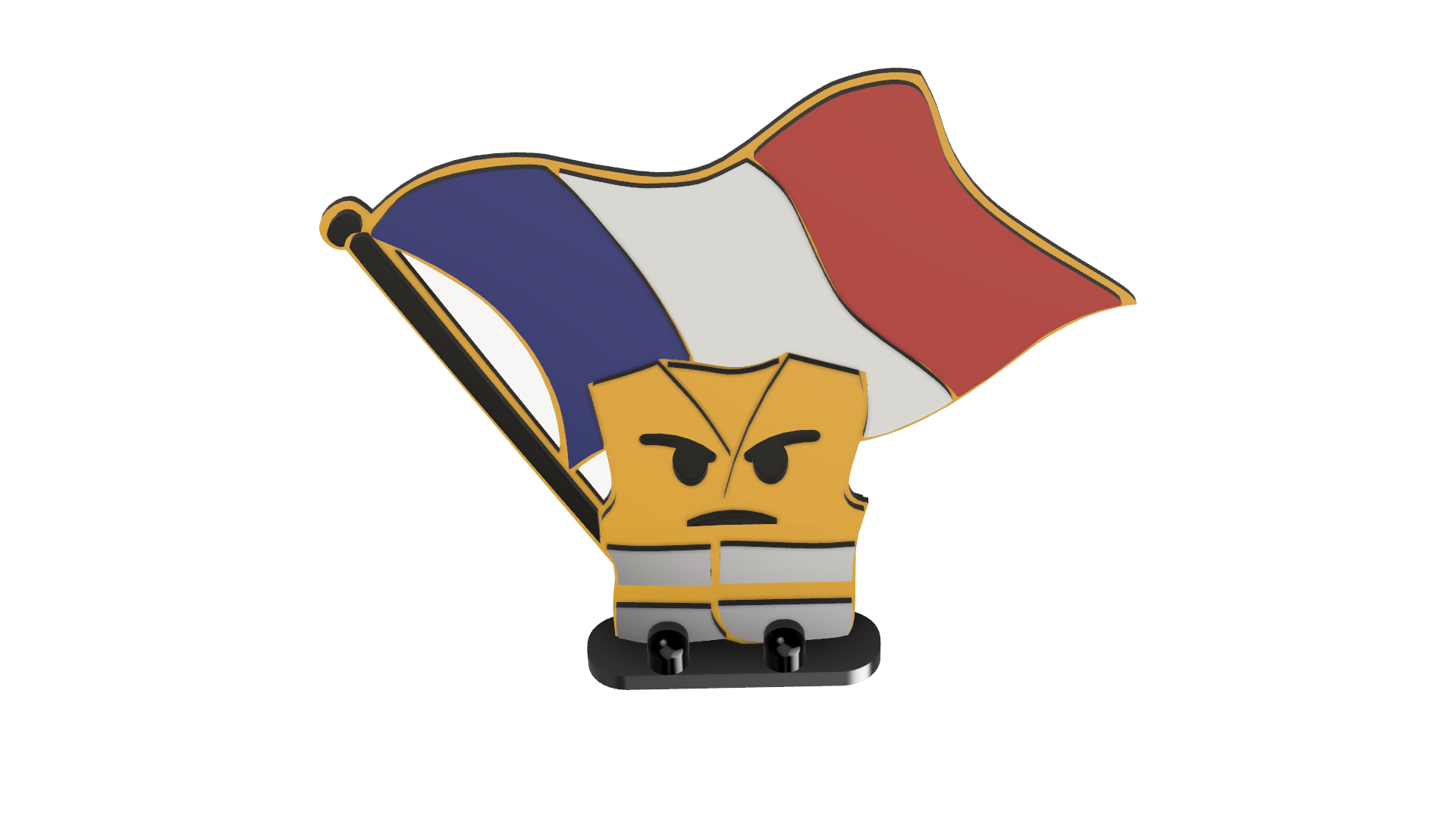DRAPEAUX LIGET JAUNE v1.png Download free STL file Angry yellow vest flag bearer, figurine • 3D printing design, delphano62