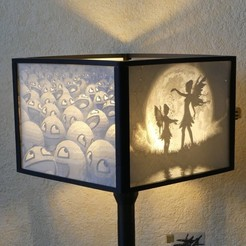 3D printer files Square lithophane lampshade, Lesfredlumieres