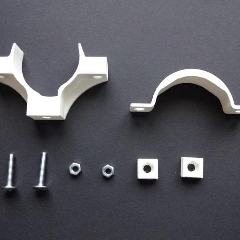 DSC02107.JPG Download STL file PVC drain pipe clamp 32-40-50 • Template to 3D print, chris_soleil