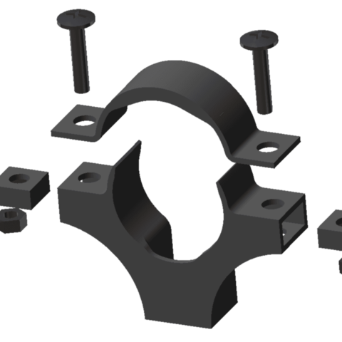 Collier.png Download STL file PVC drain pipe clamp 32-40-50 • Template to 3D print, chris_soleil