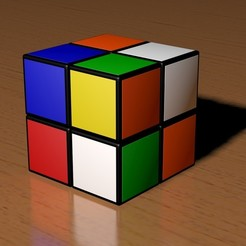 3d printer designs 2x2 Scrambled Rubik's Cube, Knight1341