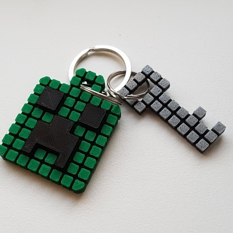 Keychain 2.jpg Download free STL file Minecraft Creeper Keychain (single extruder) • 3D printing object, Bishop