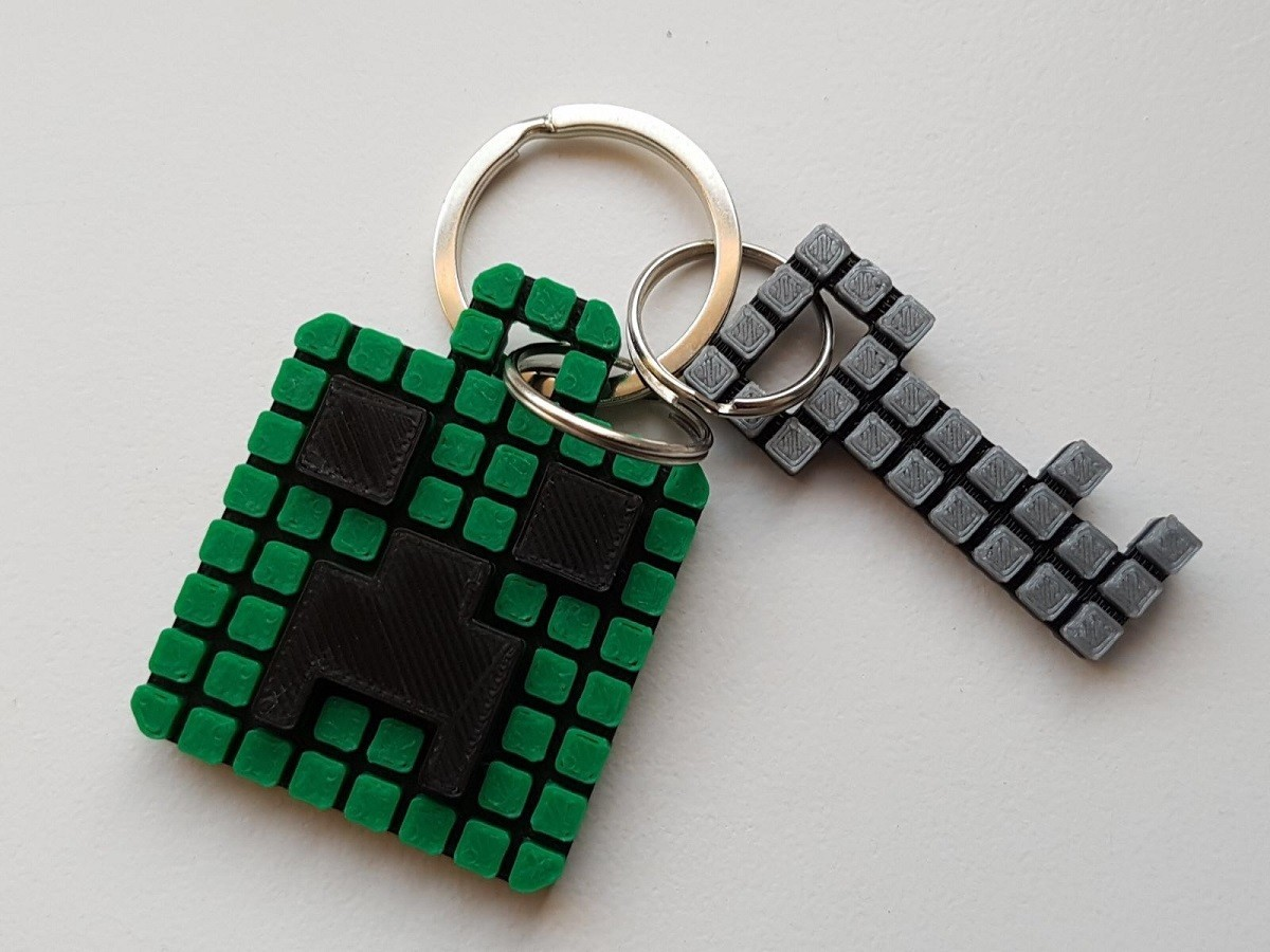 Keychain 3.jpg Download free STL file Minecraft Creeper Keychain (single extruder) • 3D printing object, Bishop