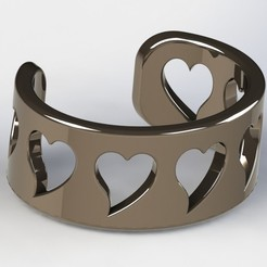 Bracelet Nikkel 1-3.JPG Download free STL file Heart Bracelet • Template to 3D print, Bishop